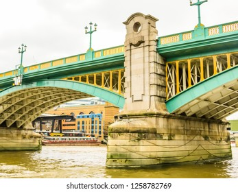 Southwark Bridge is an arch bridge for traffic linking Southwark and the City across the River Thames in London