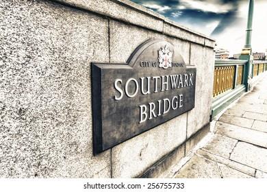 Southwark Bridge sign.