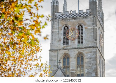 Southwark Cathedral church exterior. Serene, Gothic Anglican cathedral with famous daily choral in Southwark, London, lies on the south bank.