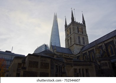 Southwark cathedral and The Shard, gothic and modern architecture