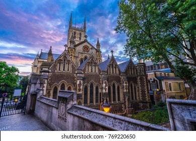 Southwark Cathedral with sunset sky, London, UK