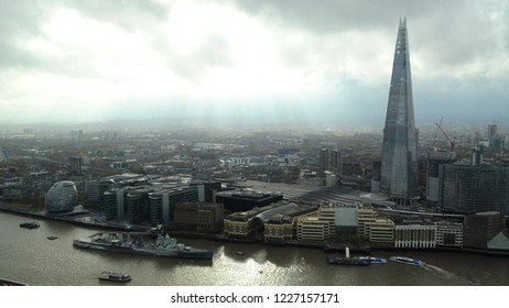Southwark, London / UK - 11/09/2018: Southwark from the Skygarden of the Walkie Talkie building.