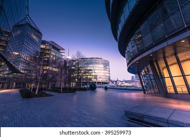 Southwark in London,business offices at sunrise with filtered effect.