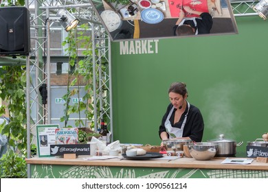 SOUTHWARK, LONDON-SEPTEMBER 7,2017: Olia Hercules is cooking in stall at Borough Market on September 7, 2017 in London. Olia Hercules is a London-based chef, recipe writer and food stylist.