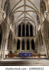 SOUTHWELL, ENGLAND - DECEMBER 24, 2018: Christmas Eve: Choir at Southwell Minster, dedicated to the Blessed Virgin Mary