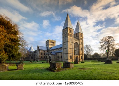 Southwell Minster, Southwell, Nottinghamshire, UK, December 2018, West Front of Southwell Minster
