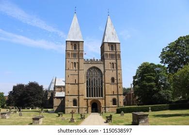 Southwell, Nottinghamshire, UK, 07/11/2018 - A landscape view of Southwell Minster in Nottinghamshire UK