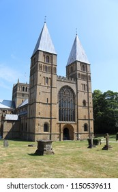Southwell, Nottinghamshire, UK, 07/11/2018 - A view of the front of Southwell Minster in Nottinghamshire UK