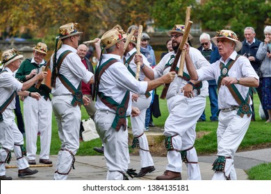 Southwell,Nottinghamshire,UK:  October 20th  2018. English Morris dancers perform pagan folklore performance for crowd of people at county fair in the Nottinghamshire town of Southwell.