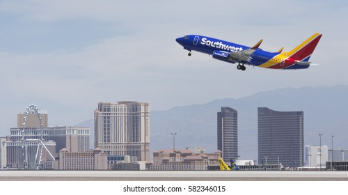 A Southwest Airlines Boeing 737-7H4(WL) takes off from McCarran International Airport in Las Vegas Thursday, June 9, 2016.