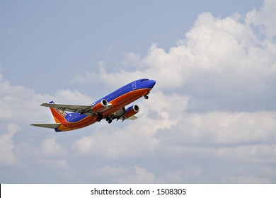 A Southwest Commercial Jet Airliner moments after takeoff.