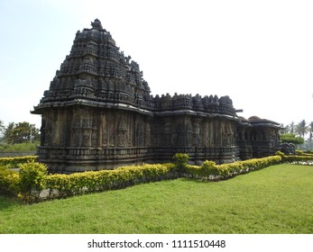 South-west corner view of Bucesvara Temple, Koravangala, Hassan District of Karnataka state, India. This Hoyasala architectural temple was built in 1173 A.D.