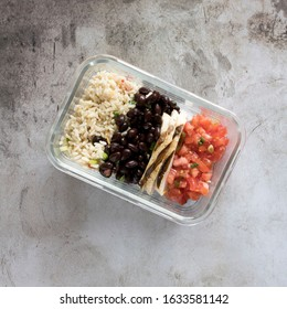 Southwest Grilled Chicken Burrito Bowl in a Glass Storage Container