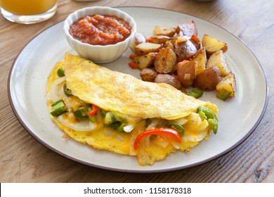Southwest Omelet on Wood Table