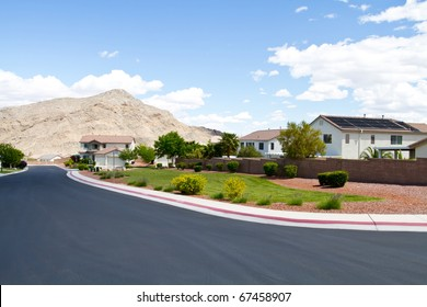 Southwest style homes in Las Vegas neighborhood