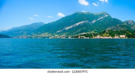 Southwestern branch of Lake Como in the area of Tremezzo, Azzano and Lenno seen from Bellagio, Lombardy, Italy, Europe