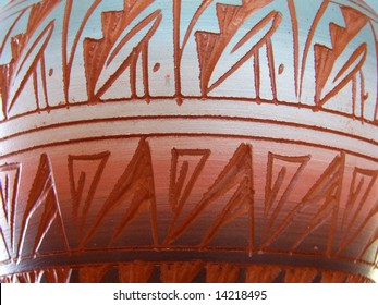 Southwestern Native American designs fired into a clay pot