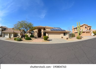 Southwestern Ranch Style House With Rooftop Solar Panels