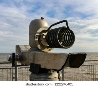 Southwold, Norfolk. England - November 4, 2018 : Quantum Tunnelling Telescope, a wacky working art installation on the end of the local pier.