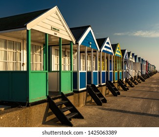 Southwold, Suffolk, UK.  April 22 2018.  It is rumoured that beach huts in Southwold on the Suffolk Heritage Coast can cost you the thick end of 50 grand sterling.