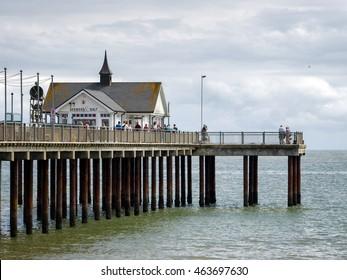 SOUTHWOLD, SUFFOLK/UK - JULY 30 : People Enjoying a Walk on Southwold Pier Suffolk on July 30, 2016. Unidentified people