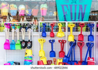Southwold, UK - August 17, 2016 - Toys for sale at a local beach shop