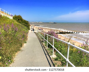 Southwold, UK -June 28 2018:  A view of the seafront at Southwold, Suffolk on a sunny summer day