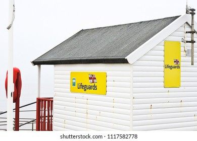 Southwold, UK - March 25 2018:  Part of a lifeguard hut by the sea in Southwold, Suffolk.
