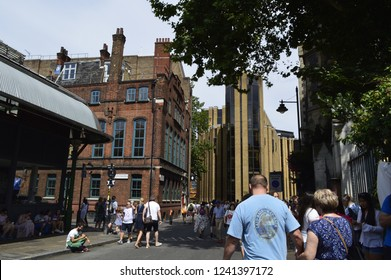 Soutwark,London /Uk-August 4 2018;Looking towards Southwark Cathedral from Borough Market in London.