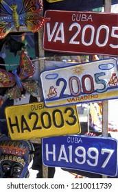 a souvenier shop the old town of the city Havana on Cuba in the caribbean sea.   Cuba, Havana, September, 2005