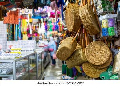 Souvenir display in Filipino market souvenir market in Sabah Borneo, Kota Kinabalu, Malaysia.