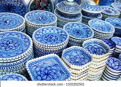 Souvenir earthenware in tunisian market, Sidi Bou Said, Tunisia.