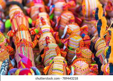 Souvenir fabric elephants on the market in Luang Prabang, Laos. Close-up