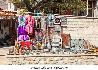 Souvenir market in the Old City in Baku, Azerbaijan. Inner City is the historical core of Baku and UNESCO World Heritage Site.