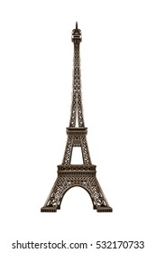 Souvenir model of the Eiffel Tower isolated on a white background.