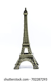 Souvenir Model of the Eiffel Tower on White Background