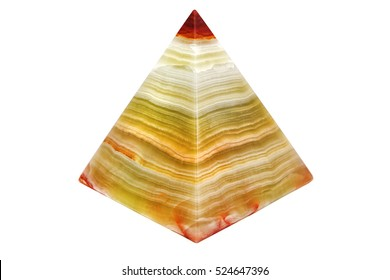 souvenir onyx pyramid, isolated on a white background