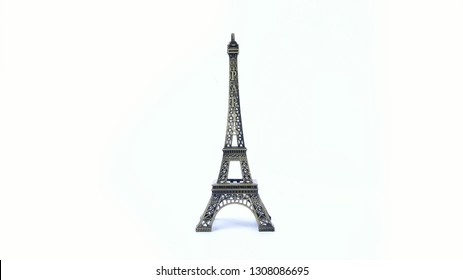 Souvenir from Paris, France - the Eiffel Tower isolated on white background