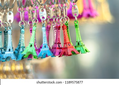 Souvenir from Paris, France. Litlle Eiffel Towers for sale in different colours