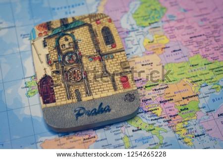 Souvenir Prague Magnet On Map Europe Stock Photo (Edit Now ...