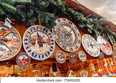 Souvenir reproductions of the astronomical clocks at christmas market in Prague