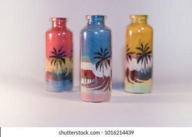 Souvenir, sand drawings inside glass containers, direct crafts of Natal-RN Brazil