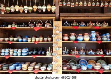 Souvenir shop in the form of ceramics in the bulgarian Sozopol.