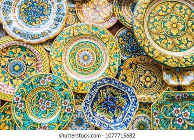 Souvenir shop with typical ceramic products of Sicilian style in the old town of the historic village of Erice in Sicily, Italy