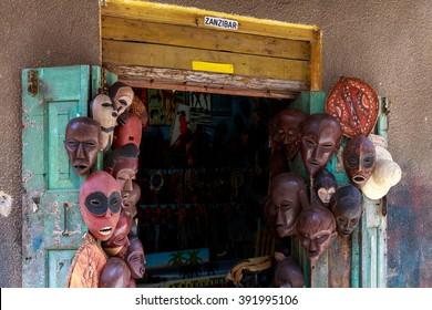 A souvenir shop with Zanzibar sign in Stone Town , Tanzania