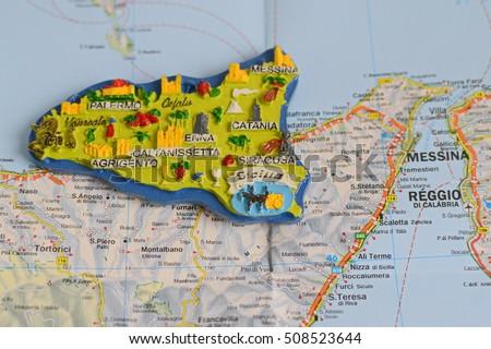 Souvenir Sicily Italy On Map Stock Photo (Edit Now) 508523644 ...