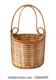 Souvenir small basket from a rod on a white background close up