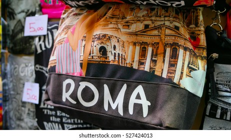 Souvenir street sale in Rome - Bags from Rome - ROME / ITALY - NOVEMBER 6, 2016