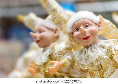 Souvenir toy Elf Christmas. Soft focus