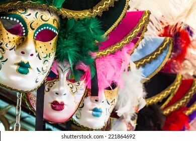Souvenirs and carnival masks on street trading in Venice, Italy